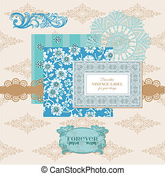 Scrapbook Design Elements - Vintage Flower Card with Photo Frame - in vector