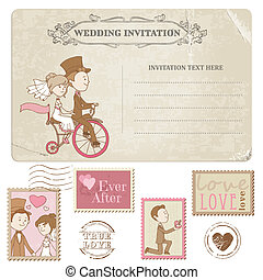 Wedding Postcard and Postage Stamps - for wedding design,...