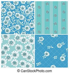Seamless backgrounds Collection - Vintage Flowers - for design and scrapbook - in vector