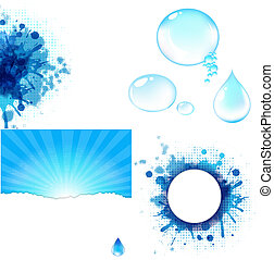 Water Symbol Big Set, Isolated On White Background, Vector...