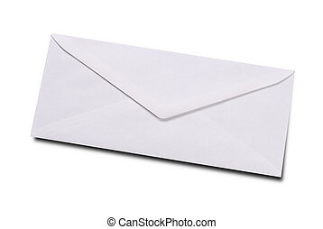 Plain white envelope isolated over white with a clipping...