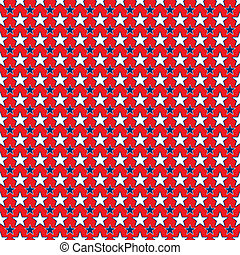 Seamless Blue & White Stars on Red