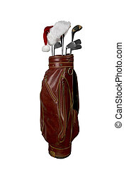 Golf clubs with Santa hat - Vintage worn clubs with Santa...