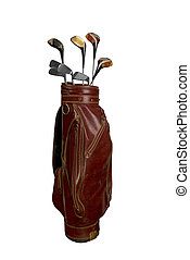 Golf clubs in bag - Vintage worn clubs in an old bag...