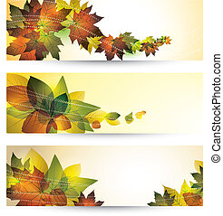 autumn leaves - hundred autumn banners with place for text