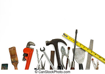 Old Tools - Old used and worn tools isolated over white...