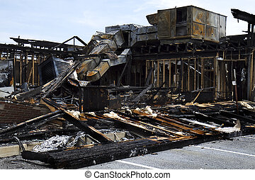 Burnt Down Restaurant - Burnt down building Restaurant with...