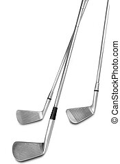 Golf clubs isolated over a white background with a clipping...