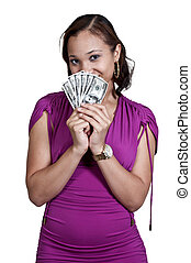 Woman Holding 100 Dollar Bills - Beautiful woman holding a...