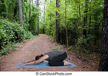 Woman Doing Yoga - Beautiful black African American woman...