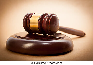 Judge Gavel and Soundboard - A wooden gavel and soundboard...
