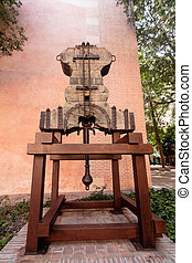 Old bell yoke - One of the old bells of Malaga Cathedral in...