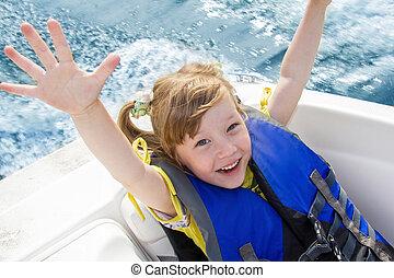 Viagem, crianças, água, bote