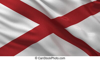 Seamless loop of Alabama flag - Flag of Alabama waving in...