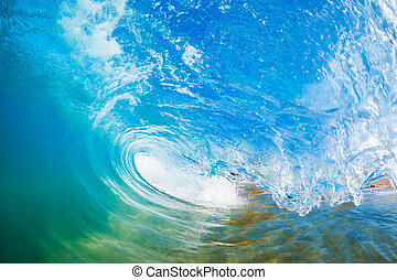 Wave - Blue Ocean Wave, View inside the Wave