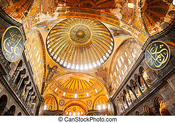 Hagia Sofia Mosque - Decorative interior of the Beautiful...