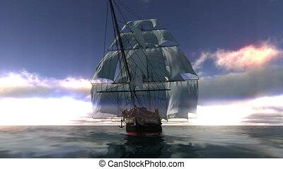 sailing boat and horizon