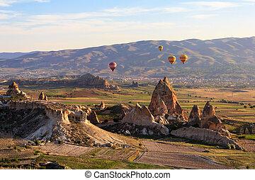 Balloon flying over Cappadocia, Turkey
