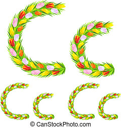 Vector font type letter C made from flower tulip