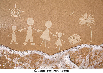 Summer family vacations, on wet sand texture - Stick figure...