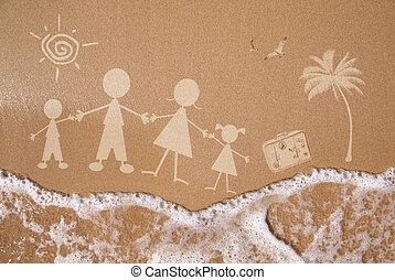 Été, famille, Vacances, mouillé, sable,...
