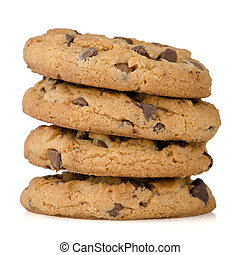 Stack of cookies - Stack of chocolate cookies isolated on...