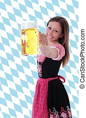 Girl with beer pint and diamond pattern
