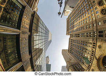 Upward fisheye view of Manhattan Tall Skyscrapers - New York...