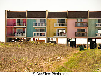 Colorful Homes on the Sea near Galveston, Texas