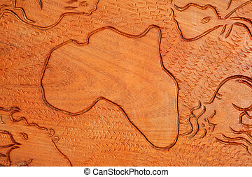 African continent in wood