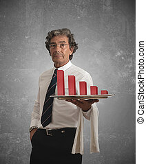 Businessman and negative statistics - Businessman holds a...