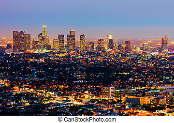 Los Angeles - Aerial view of Los Angeles at night
