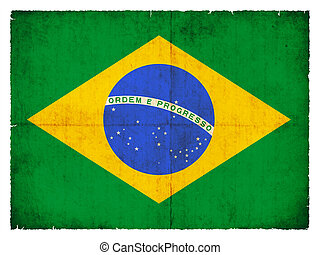 Grunge flag of Brazil - National Flag of Brazil created in...