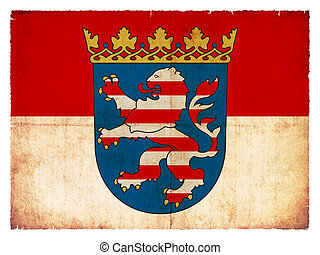 Grunge flag of the province Hesse (Germany) - Flag of Hesse...