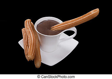 chocolate, churros, negro