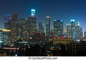 Los Angeles skyscrapers at night
