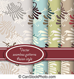 Vector set of fern seamless patterns - Seamless patterns...