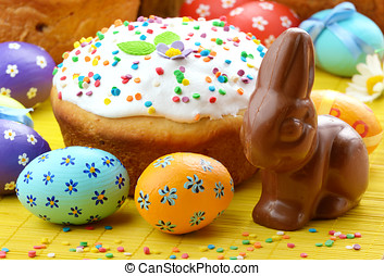 Easter eggs, cake, bunny - Easter eggs, cake, and bunny...
