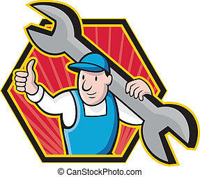 Mechanic With Spanner Thumbs Up - Cartoon illustration of a...
