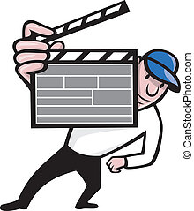 Director With Movie Clapboard Cartoon - Cartoon illustration...