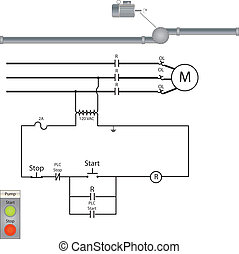 Pump Motor Control Set - A control circuit and pump motor...