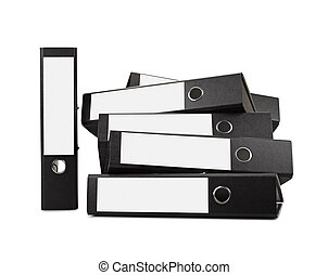 Stack of black office folders ( clipping path) ther is a...
