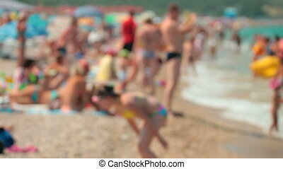 Crowded Beach Scene - Out of focus crowded beach in summer...