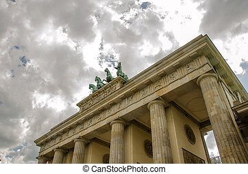 Quadriga sculpture on top of Berlin Brandenburg Gate,...