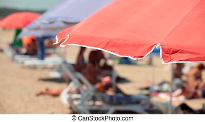 Beach in Summer - People at the Summer Beach, Selective...