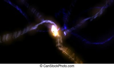 blowout fire rays laser in darkness space,power tech...