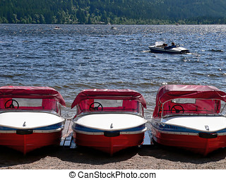 Boats at lakeside - Pedal boats for rent at a lakeside...