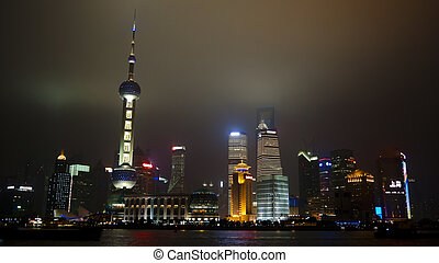 Shanghai Pudong at night - Shanghai Pudong as seen from the...
