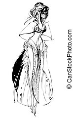 girl with a veil in a long beautiful dress - sketch girl...