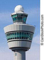 panowanie, wieża, Schiphol, lotnisko, Niderlandy